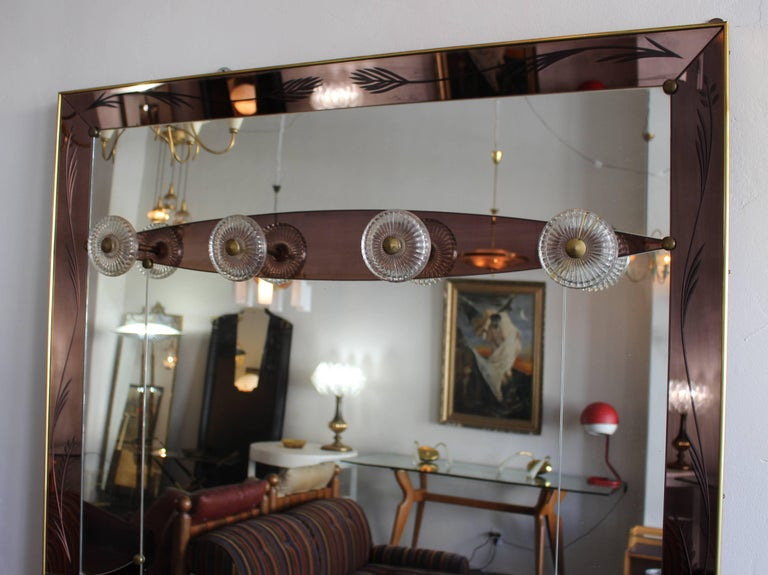 Italian Wall Mirror in Style of Max Ingrand for Fontana Arte In Excellent Condition For Sale In Los Angeles, CA