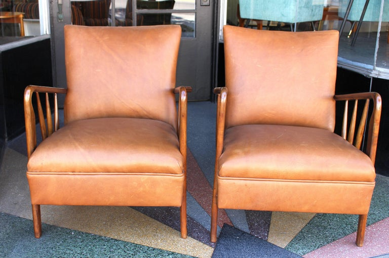 Italian leather pair of chairs new reupholstered and lacquered fruit wood.