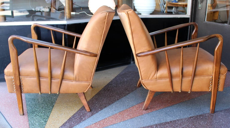 Art Deco Italian Pair of Chairs Attributed to Guglielmo Ulrich For Sale