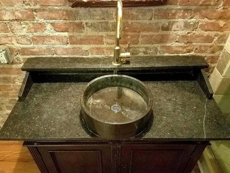 Antique French Bathroom Sink and Mirror For Sale 2