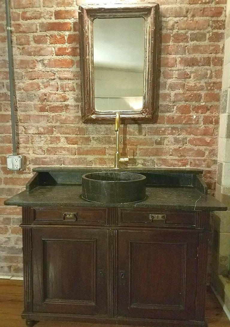 Antique French Bathroom Sink and Mirror For Sale 3