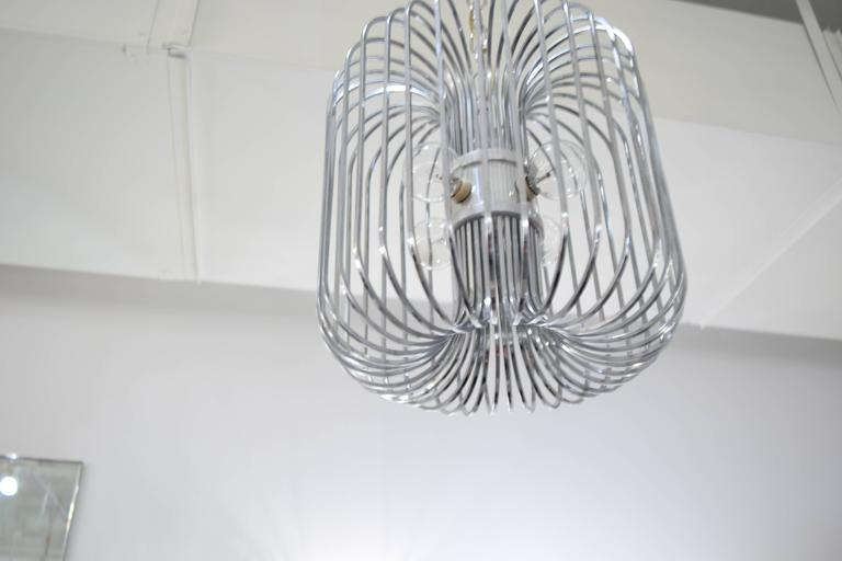 Italian Sciolari Chrome Birdcage Chandelier For Sale