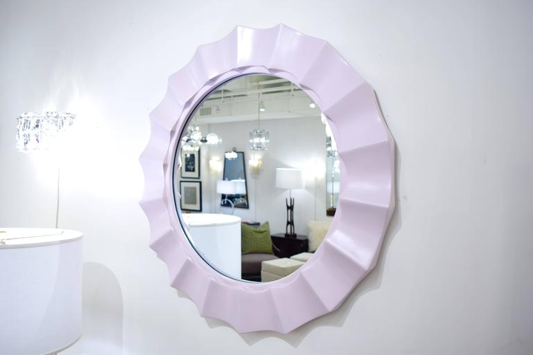 American Lilac 1970's Glam Lacquered Scalloped Mirror For Sale