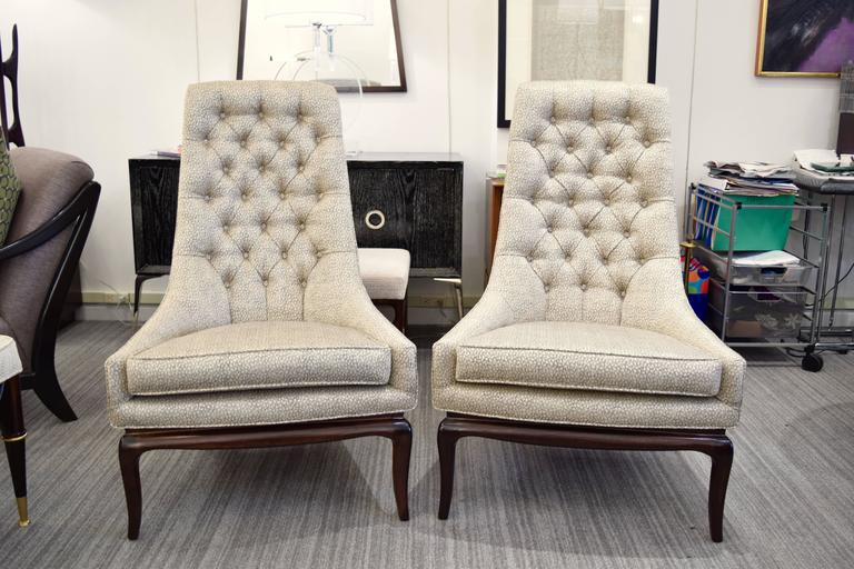 Pair of Tufted High Back Lounge Chairs 4