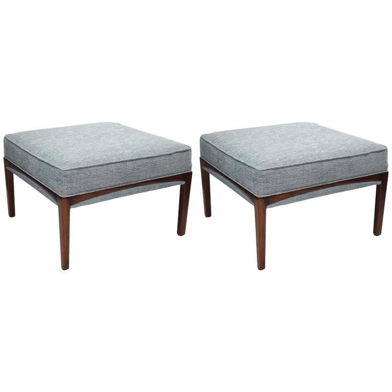 Pair of 1960's Walnut Ottomans For Sale