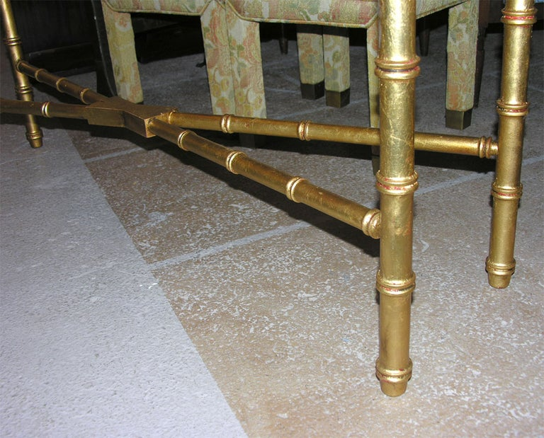 Glass Hollywood Regency Faux Bamboo Gilt Console or Sofa Table For Sale