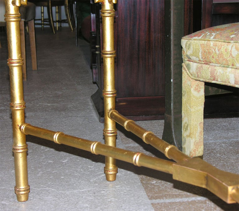 Hollywood Regency Faux Bamboo Gilt Console or Sofa Table For Sale 1
