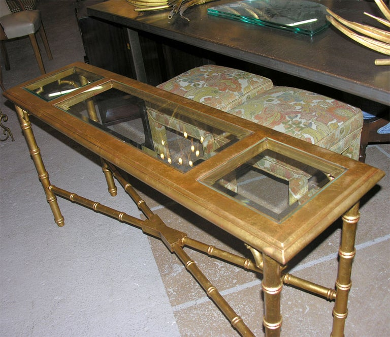 Hollywood Regency Faux Bamboo Gilt Console or Sofa Table For Sale 2