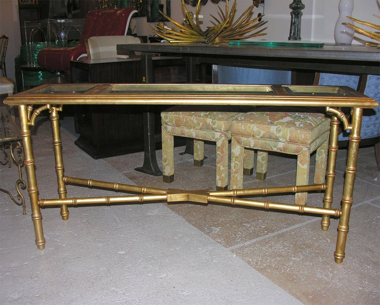 Hollywood Regency Faux Bamboo Gilt Console or Sofa Table For Sale 3