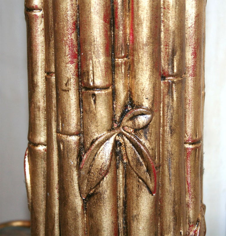 Gilt Faux Bamboo Lamp In Good Condition For Sale In New York, NY