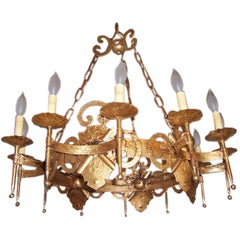 Large 12 Light Hollywood Regency Iron Gold Leaf Chandelier