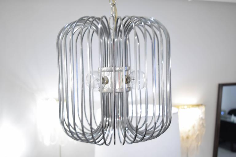 Sciolari Chrome Birdcage Chandelier In Excellent Condition For Sale In New York, NY