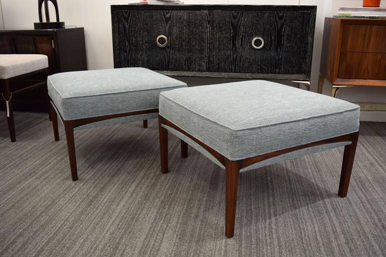 Pair of 1960's Natural Walnut Ottomans OR Benches For Sale 3