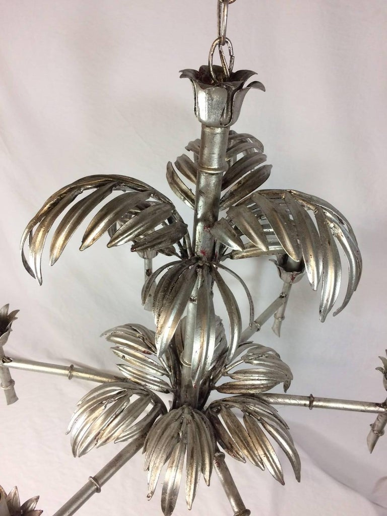 Silver Leaf Palm Faux Bamboo Chandelier 2