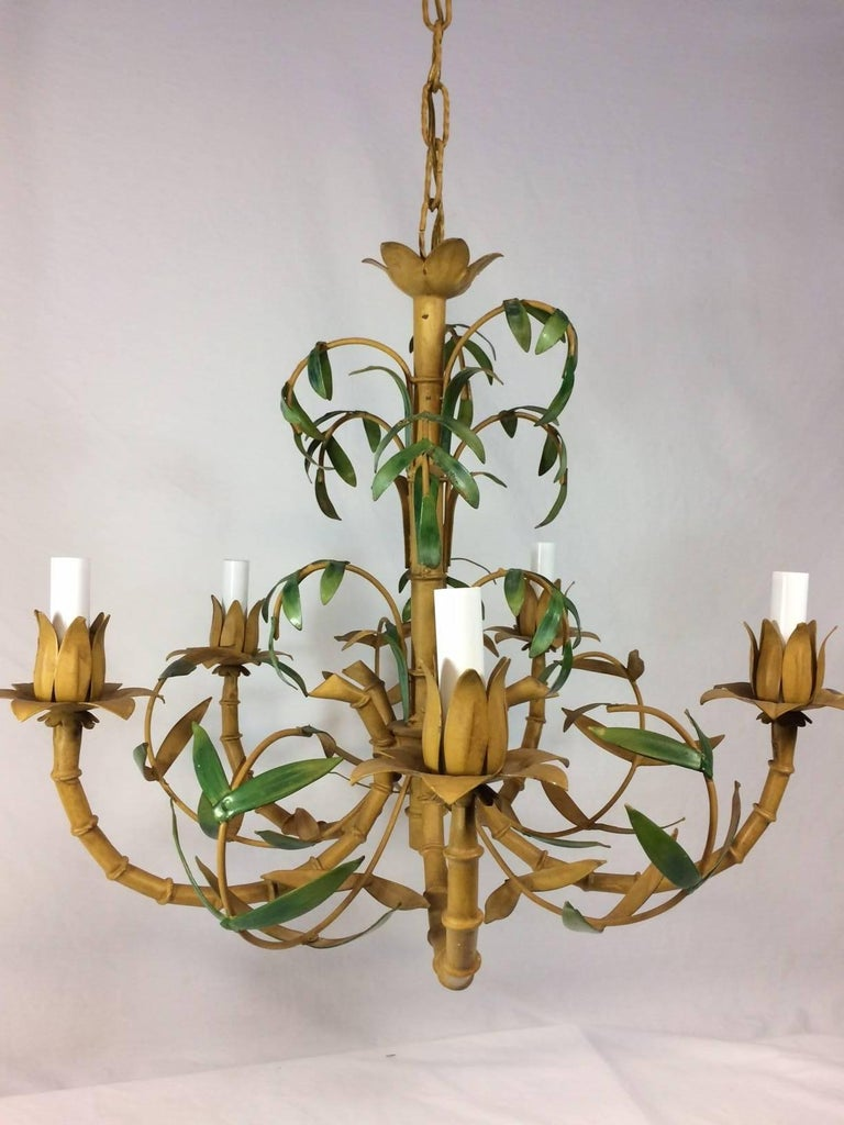 Tole Painted Palm and Faux Bamboo Chandelier 2
