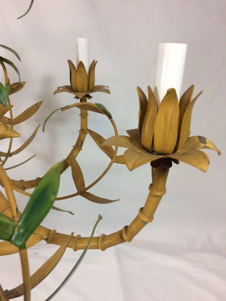 Tole Painted Palm and Faux Bamboo Chandelier 3