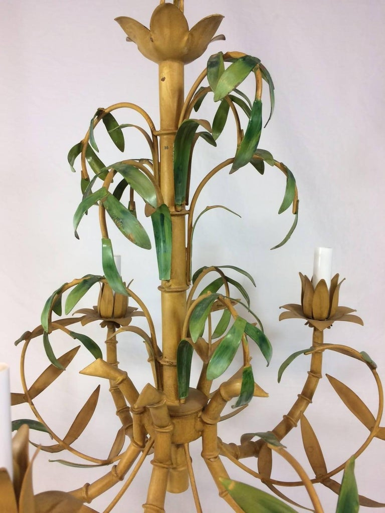 Tole Painted Palm and Faux Bamboo Chandelier 4