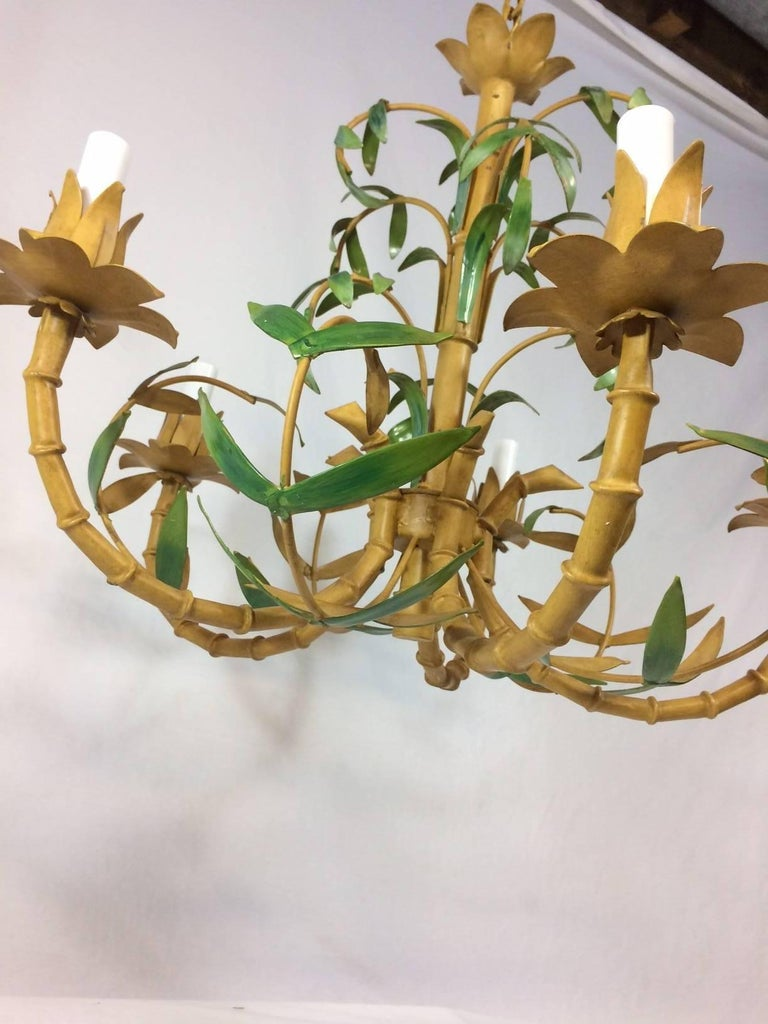 Tole Painted Palm and Faux Bamboo Chandelier 5