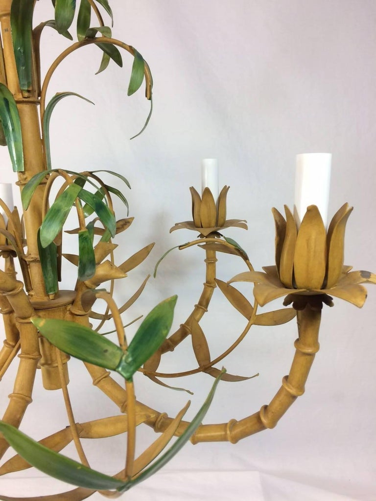 Tole Painted Palm and Faux Bamboo Chandelier 6