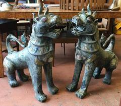 Pair of Tony Duquette Antique Bronze Thai Foo Dogs with Amethyst and Rose Quartz