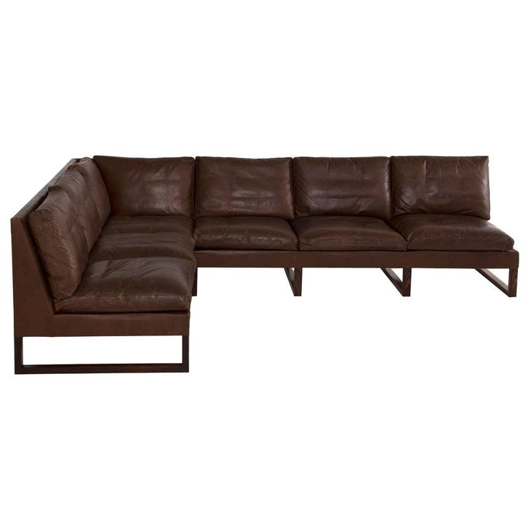 Scandinavian Modern Leather and Rosewood Sectional