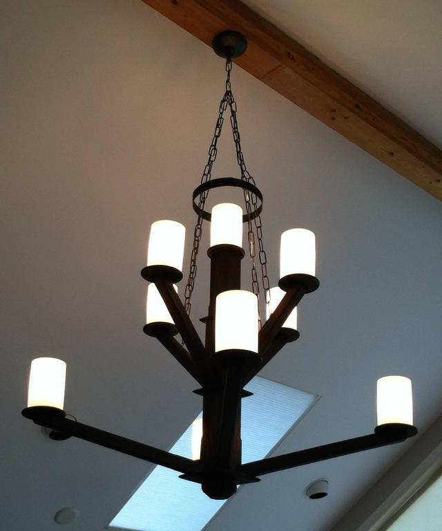 Large Custom Wood Chandelier with Glass Cylinder Shades In Excellent Condition For Sale In Pound Ridge, NY