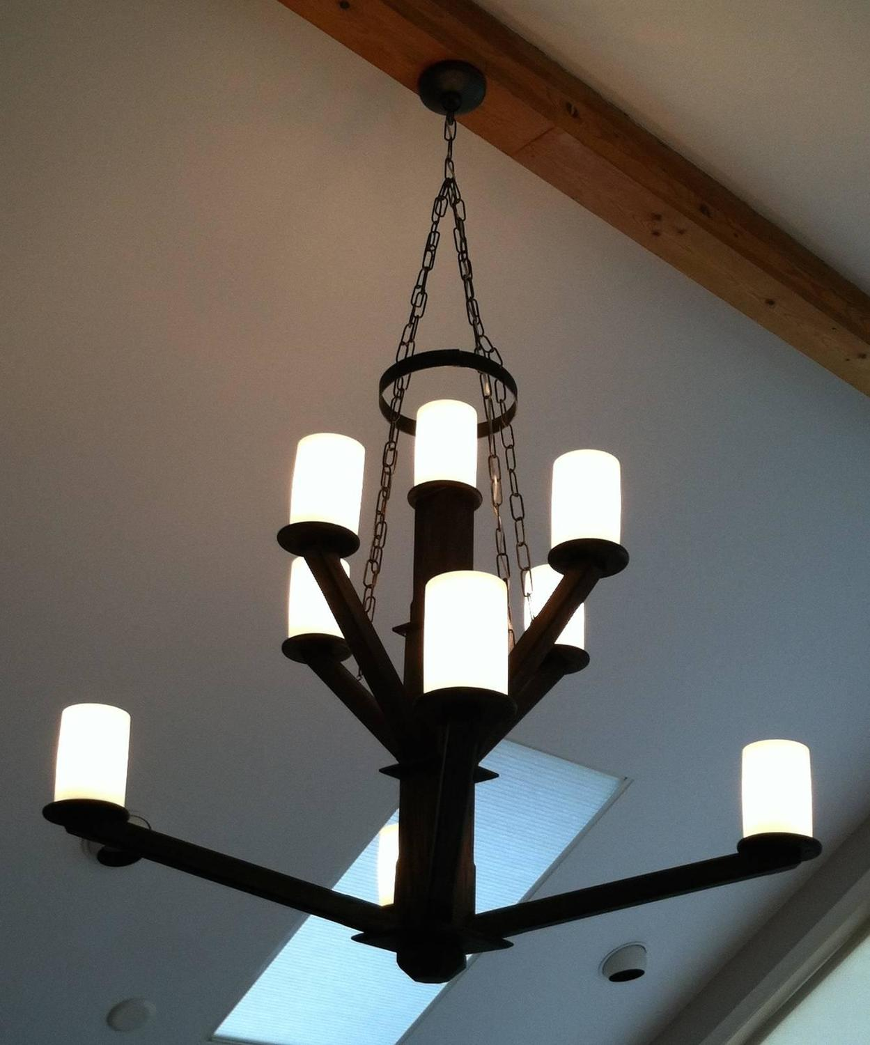 Wood Chandelier Milk Glass Shades For Sale at 1stdibs