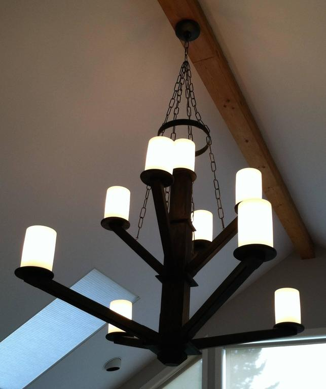 Large Custom Wood Chandelier with Glass Cylinder Shades For Sale 1