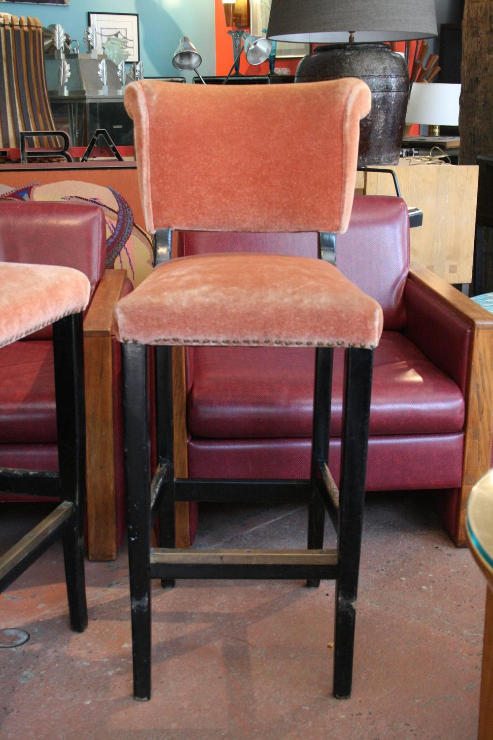 1950s Carlyle Hotel Bar Stools In Original Rose Mohair At