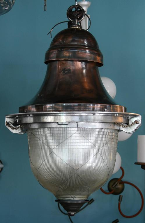 Impressive French Pendant Lanterns with original netted holophane glass 2