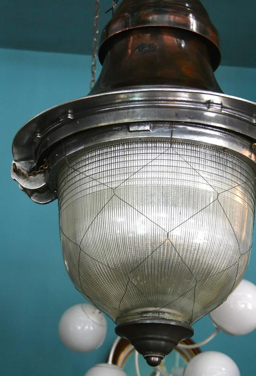Impressive French Pendant Lanterns with original netted holophane glass 3