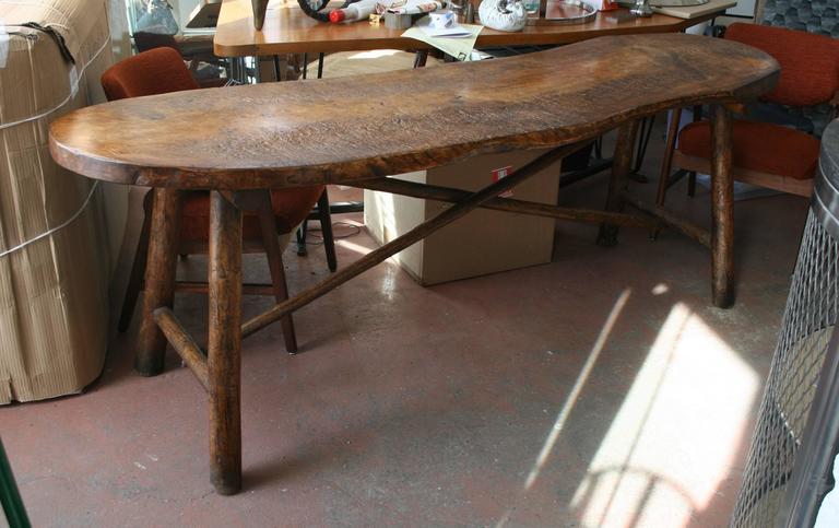 Organic Modern Live Edge Single Slab Console Table For Sale