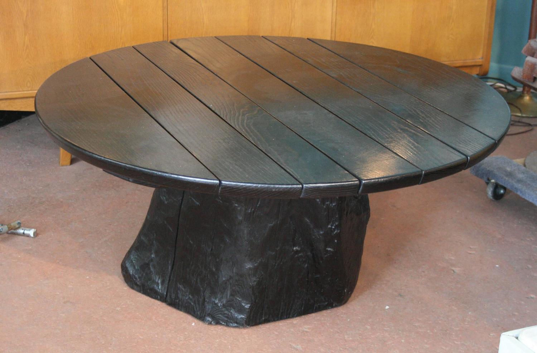 Round Ebonized Oak Coffee Table With Live Edge Tree Trunk