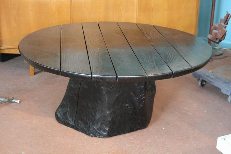 Round Ebonized Oak Coffee Table With Live Edge Tree Trunk