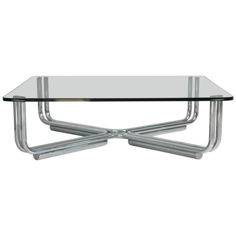 Chrome Coffee Table Items: Tubular Chrome And Glass Coffee Table By Gianfranco