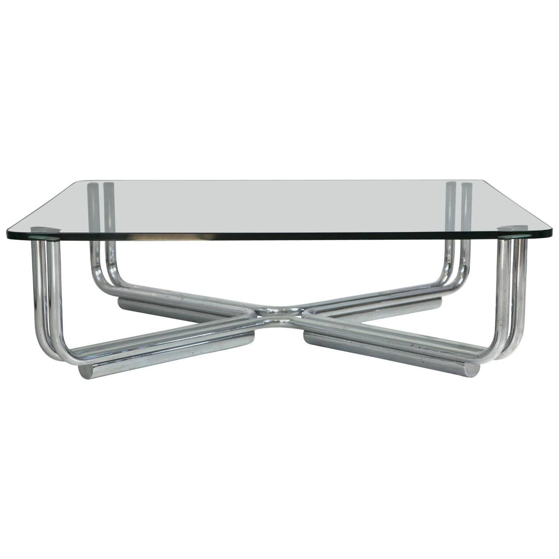 Tubular Chrome Coffee Table: Tubular Chrome And Glass Coffee Table By Gianfranco