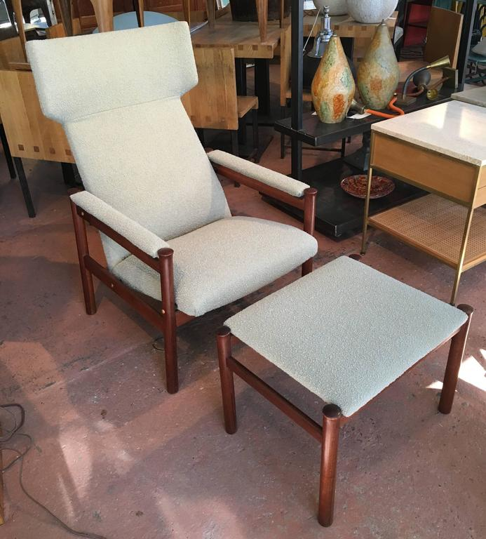 Scandinavian Modern Wing Chair And Ottoman By Soren Hansen For - Hansen patio furniture