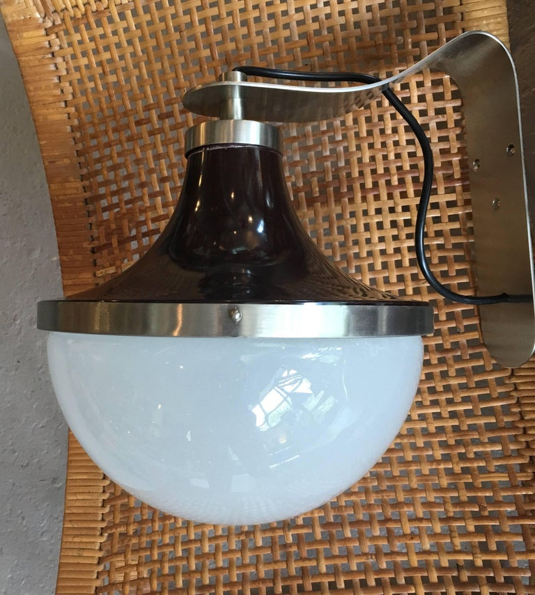 Pair of Enameled Metal and Glass Pendants or Sconces by Sergio Mazza, Artemide 3