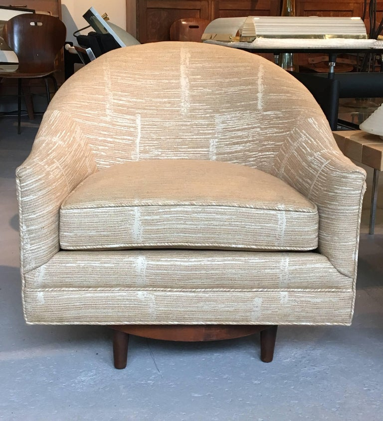 Danish Pair of Scandinavian Swivel Chairs by Selig with Walnut Bases and New Upholstery For Sale