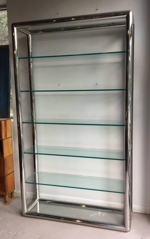1970s Tubular Chrome and Glass Etagere For Sale at 1stdibs