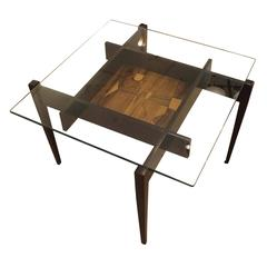 Square Coffee Or Side Table With Center Etching Italy 1950s
