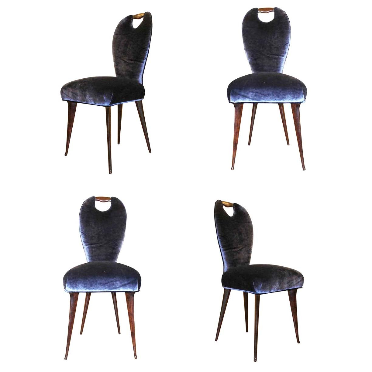 Set of Four Elegant Chairs, Italy, 1960s