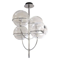 Large O-Luce Four Globe Chandelier, Italy, 1980s