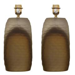 Sculptural Hammered Murano Glass Table Lamps