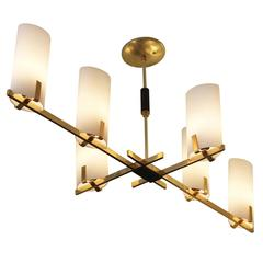 Elongated French Chandelier with Glass Shades, 1960s