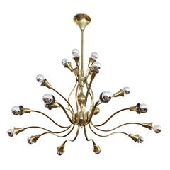 Large Floral Themed Brass Chandelier, Italy, 1950s