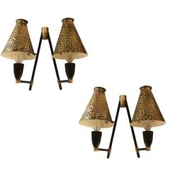 Pair of Hammered Brass Italian Sconces