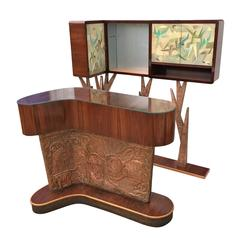Unusual and Rare Italian 1940s Dry Bar