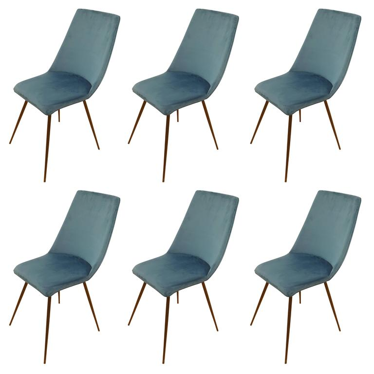 Set of Six Sleek Mid-Century Dining Chairs