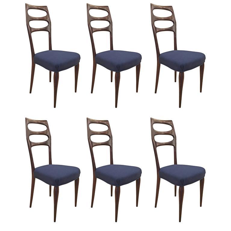 Set of Six Elegant Mid-Century Dining Chairs